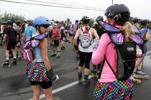 Butterflies before flight. Photo by Howard Yune (Napa Valley Register).  Caption: Butterfly props were among some of the more unusual costumes sported by racers in Sunday's 22nd annual Napa Valley Inline Marathon and Half Marathon. —